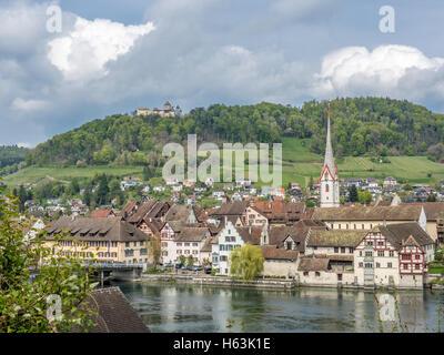 Picturesque skyline of the village of Stein am Rhein - 2 - Stock Photo