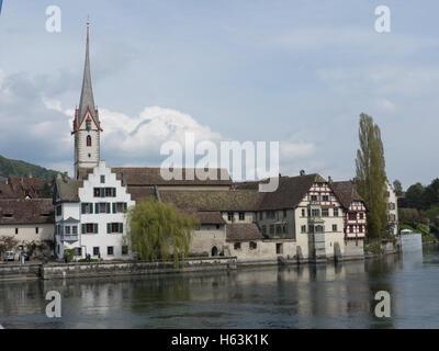 Picturesque skyline of the village of Stein am Rhein - 3 - Stock Photo