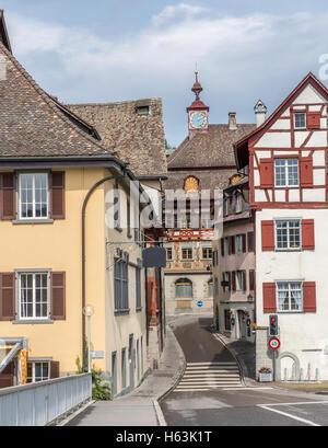 Street in the town of Stein Am Rhein - Stock Photo
