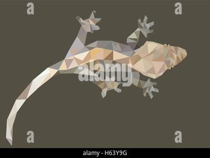 Abstract Low Poly Gecko, Crested gecko (Correlophus ciliatus) - Vector Illustration - Stock Photo