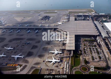 Hong Kong international airport - a view from above. - Stock Photo