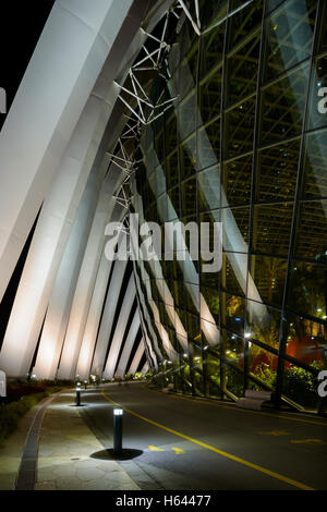 Detail view of the Flower Dome at Night, Gardens by the Bay, Singapore - Stock Photo