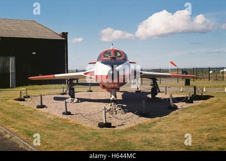 Hawker Hunter T7 jet aircraft static display at Caernarfon Airport in North Wales shot with Kodak Colorplus film - Stock Photo