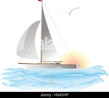 yacht vector illustration artvork - Stock Photo