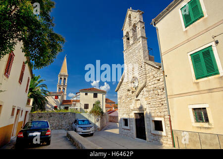 Stari grad on Hvar island stone streets and architecture, Dalmatia, Croatia - Stock Photo
