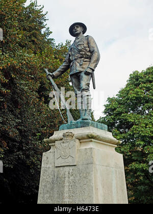 King's Royal Rifle Corps Memorial in the Outer Close of Winchester Cathedral, Hampshire - Stock Photo