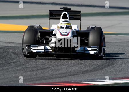 Motorsports, Pedro de la Rosa, SPA, in the BMW Sauber C29 race car, Formula 1 testing at the Circuit de Catalunya - Stock Photo