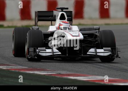 Motorsports, Kamui Kobayashi, JPN, in a BMW Sauber C29 race car, Formula 1 testing at the Circuit de Catalunya race - Stock Photo