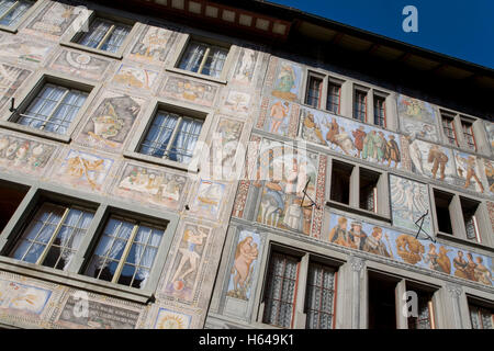 Houses on the town hall square, sign for Hotel Sonne, wine bar, murals, bay windows, Stein am Rhein, Lake Constance - Stock Photo