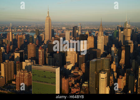 USA, New York State, New York City, business district in the morning, Empire State building, Chrysler building right, - Stock Photo
