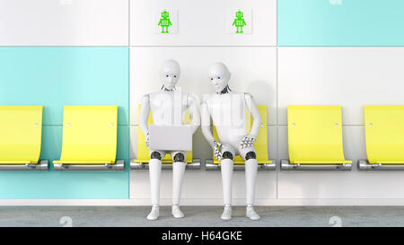 Two robots looking at laptop, 3D Rendering - Stock Photo