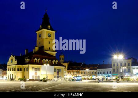 Piata Sfatului (Brasov council square) , Brasov, Romania - Stock Photo