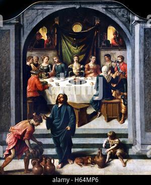 The wedding at Cana by Jan Swart van Groningen 1495 Groningen – 1563  Antwerp was a Dutch Renaissance painter Netherlands - Stock Photo