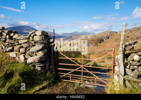 Stone wall and rusty farm gate on country track with Nantlle Ridge in distance in Snowdonia National Park (Eryri). - Stock Photo