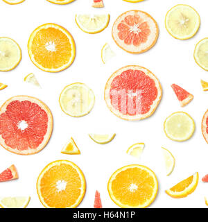 Seamless Food pattern. citrus slices isolated on white background. - Stock Photo