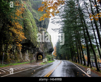 The Oneonta Tunnel along the Historic Columbia Gorge Highway - Stock Photo