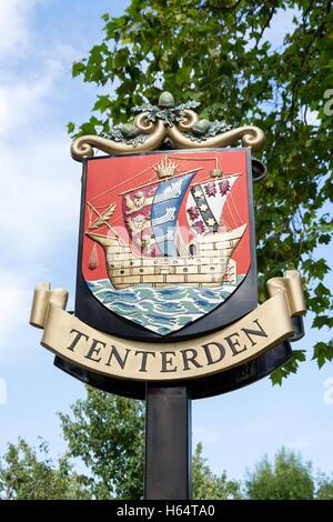 Tenterden sign, High Street, Tenterden, Kent, England, United Kingdom - Stock Photo