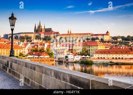 Pargue, Czezh Republic. View of the Lesser Bridge Tower of Charles Bridge (Karluv Most) and Prague Castle, Bohemia. - Stock Photo