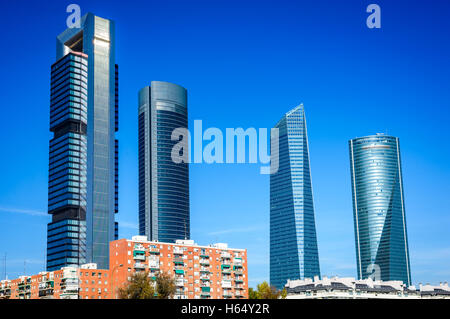 Madrid, Spain. Cuatro Torres Business Area, financial district skyline in modern Spanish capital city. - Stock Photo