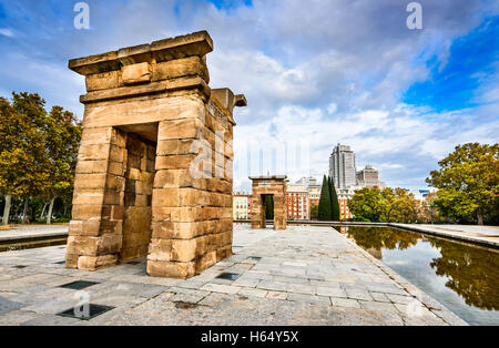 Madrid, Spain. Templo de Debod, donated by Egypt, dedicated to the goddess Isis, in Philae, built in 2nd century - Stock Photo