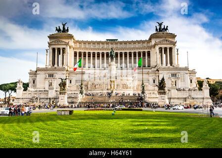 Rome, Italy. Altar of the Fatherland (Altare della Patria) known as  Vittoriano. Piazza Venezia. - Stock Photo