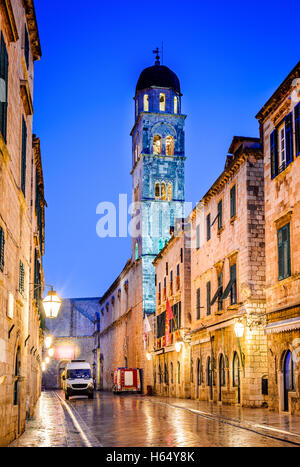 Dubrovnik, Croatia - Spectacular twilight picturesque view on the old town of Ragusa on Dalmatian Coast. - Stock Photo