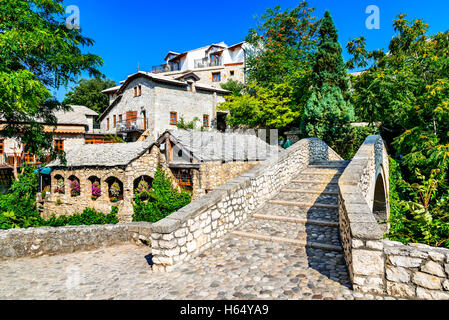 Mostar, Bosnia and Herzegovina. The most historical site in Mostar is the old bridge known as Stari Most locate - Stock Photo
