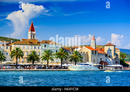 Trogir, Croatia. Sunny promenade along the pier of old Venetian town, Dalmatian Coast in Croatia. - Stock Photo