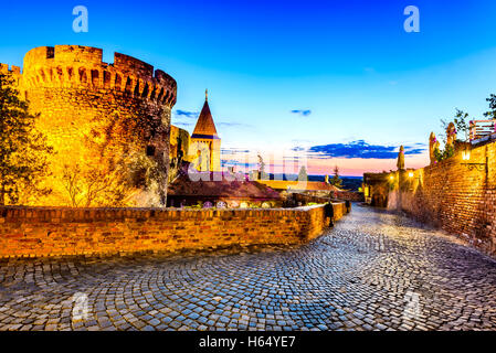 Belgrade, Serbia. Kalemegdan Fortress in the night, ancient Singidunum. Most important historical Serbian capital - Stock Photo