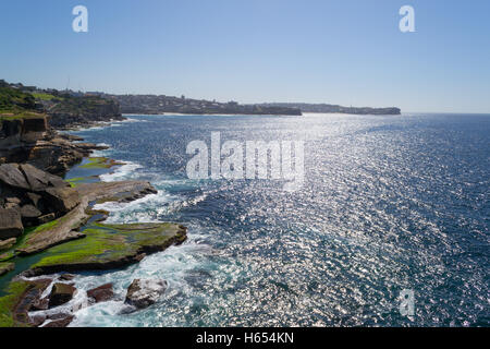 Bondi to Coogee walk is 6 km long located in Sydneys eastern suburbs - Stock Photo