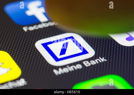 Deutsche Bank online banking app close up on iPhone smart phone screen - Stock Photo