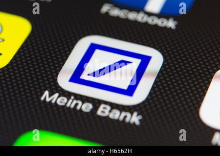 Deutsche Bank Online Banking App Close Up On Iphone Smart Phone