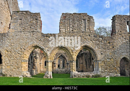 Ruins of 13th century Netley Abbey - Stock Photo