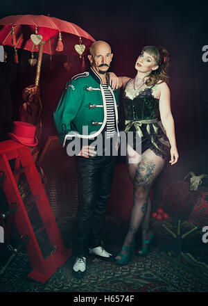 Promotional shot of two cabaret performers - Stock Photo