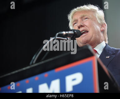 Tampa, Florida, USA. 24th Oct, 2016. Republican presidential nominee Donald Trump speaks at a campaign rally at - Stock Photo