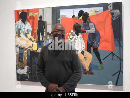 New York, USA. 24th Oct, 2016. American artist Kerry James Marshall poses in front of his painting 'Untitled (Studio)' - Stock Photo