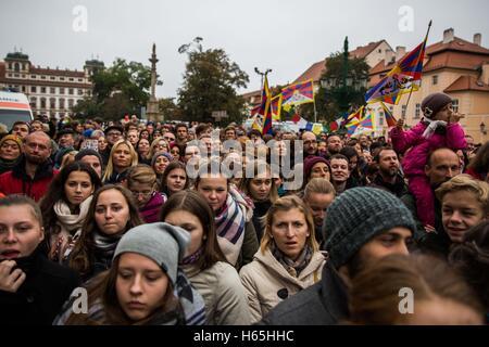 Prague, Czech Republic. 21st Oct, 2016. Dalailama is visiting Prague, Czech Republic on October 17th and 18th, 2016 - Stock Photo