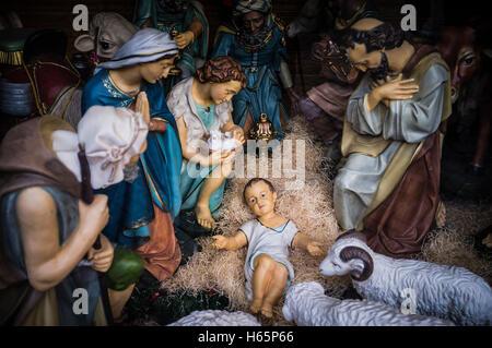 Public nativity scene with baby Jesus - Stock Photo