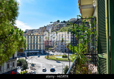 Naples, Italy. View of Naples Buildings from Viale Antonio Gramsci and Sannazzaro Square. - Stock Photo