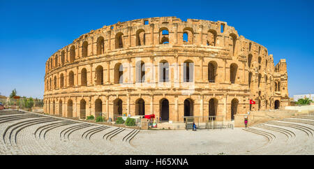 The beautiful amphitheatre in El Jem remindes the Roman Colloseum, and is one of the most popular landmarks in Tunisia. - Stock Photo