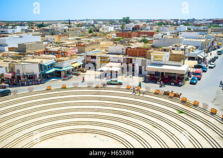 The aerial view of arabic town from the top of the roman amphitheatre, El Jem Tunisia - Stock Photo
