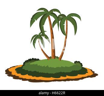 Desert island with palm trees - Stock Photo
