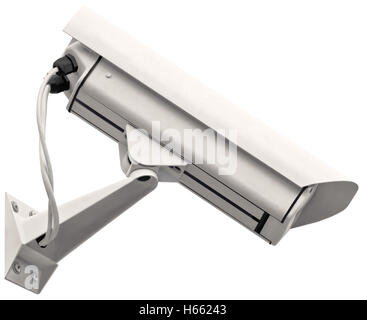 Video surveillance cctv camera, grey isolated large closeup, light gray metallic, 24 hour security control system - Stock Photo