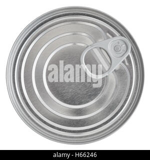 Tin Can Lid, Food Preserve Ring Pull Stay-Tab Canister Sealed Top, Large Detailed Isolated Macro Closeup - Stock Photo