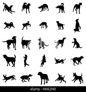 Dog silhouettes set - Stock Photo