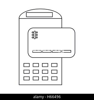 POS terminal and credit card icon, outline style - Stock Photo