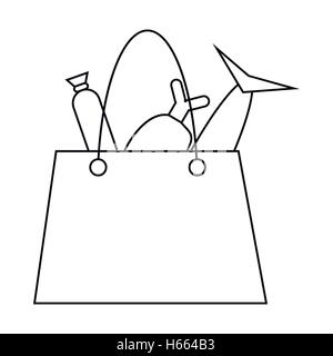 Grocery bag with fish and meat icon, outline style - Stock Photo