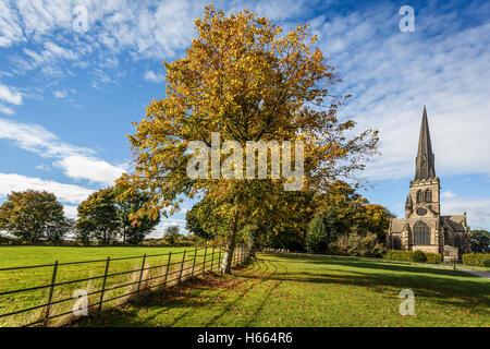 Wentworth Church in beautiful autumn light. - Stock Photo
