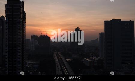 Dawn in Bangkok, Thailand - Stock Photo