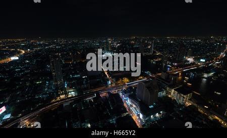 Night Bangkok, panorama of illuminated city - Stock Photo